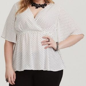 Torrid polka dot v neck flutter sleeve blouse